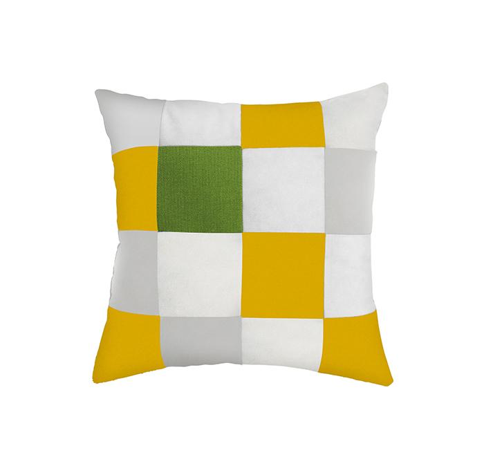 Coussin square curcuma/blanc