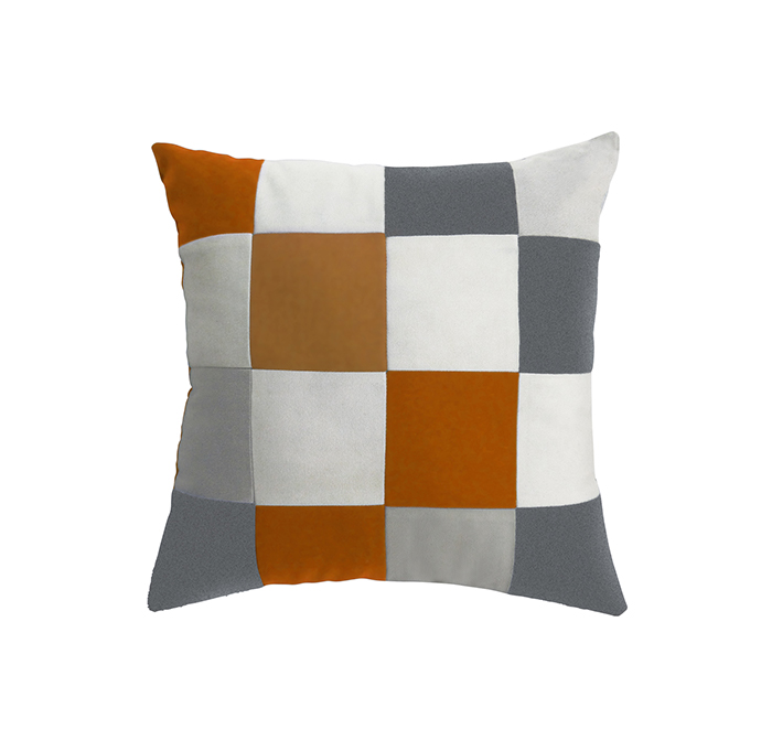 Coussin square orange/blanc