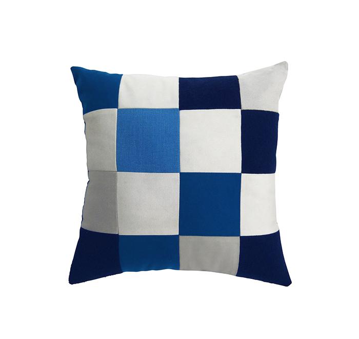 Coussin square bleu dur/blanc