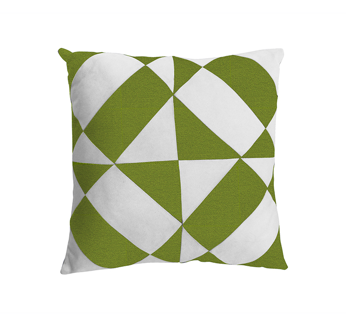 Coussin azulejos vert macao/blanc