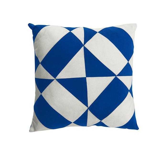 Coussin azulejos bleu dur/blanc