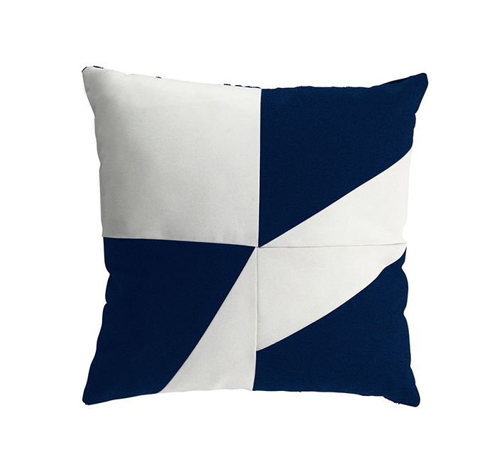 Coussin geometric bleu nuit/blanc